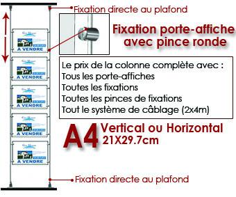 COLONNE DE A4 FIXATION PLAFOND/SOL