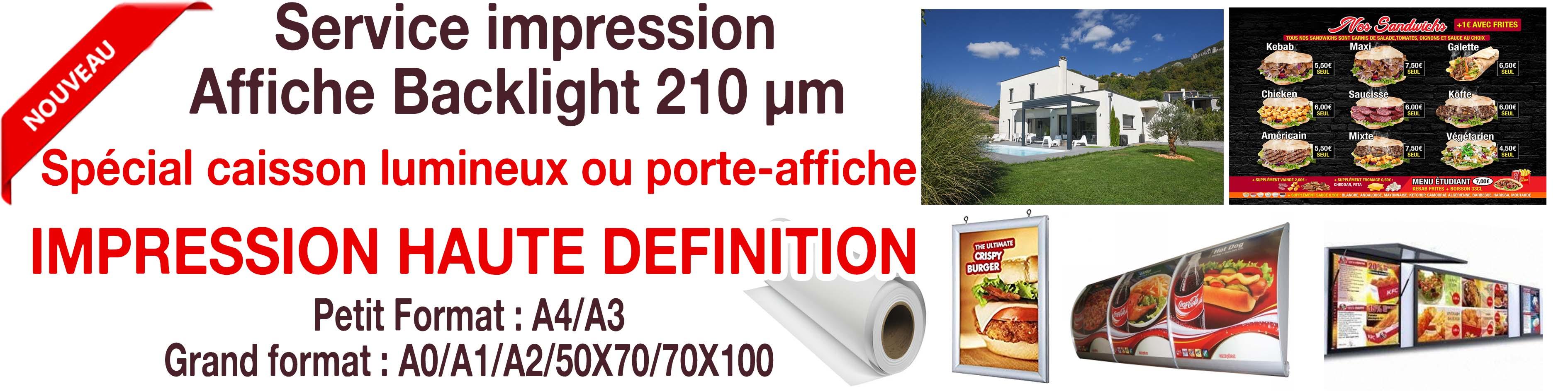 fourniture ou impression de feuilles backlight ou backlit ,pour porte affiche led ou caisson lumineux